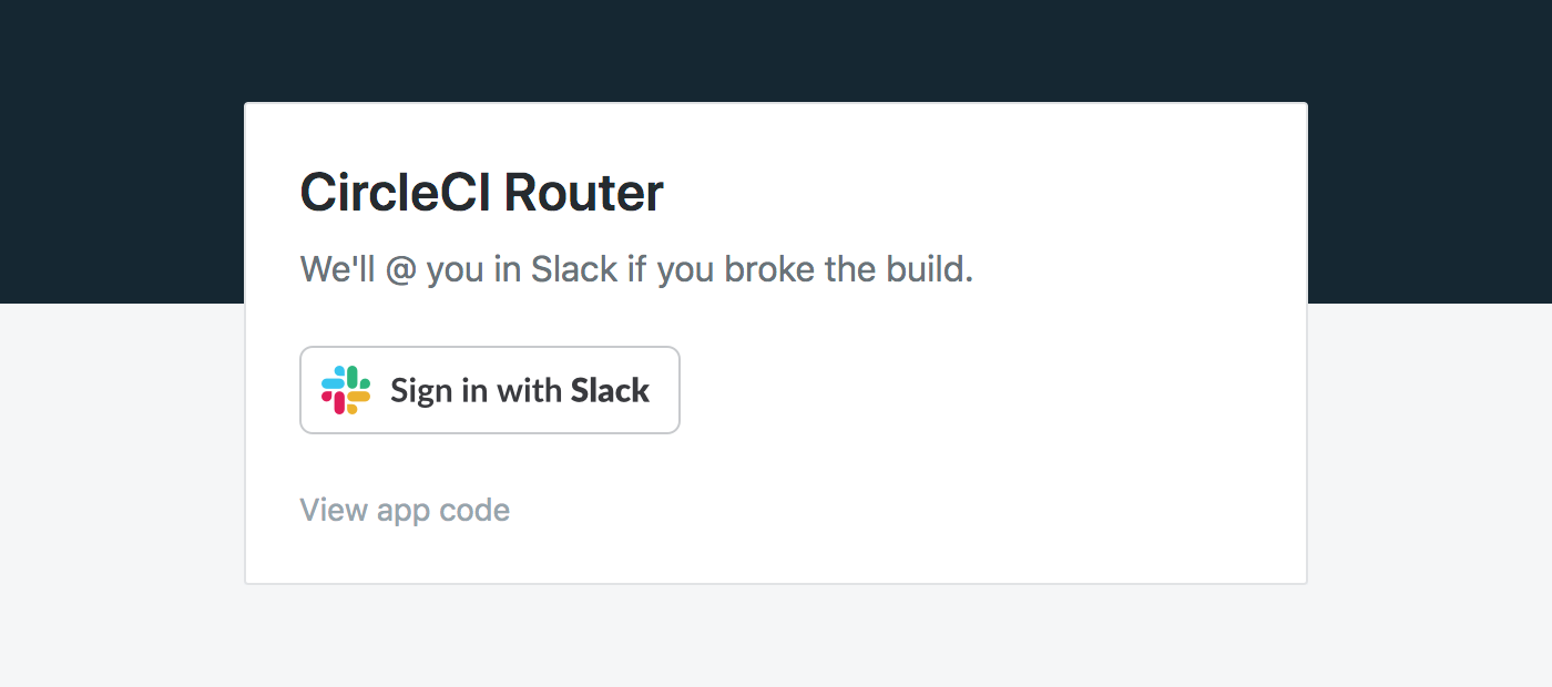 Sign in to CircleCI Router