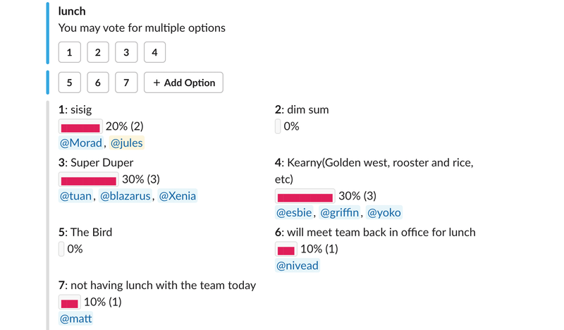 Our lunch poll