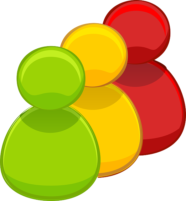 Red, yellow, and green stylized people