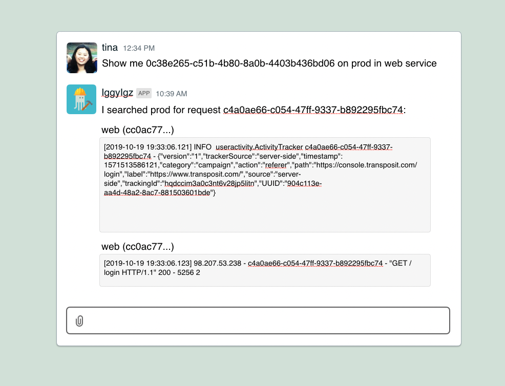 Interactive logs chatbot