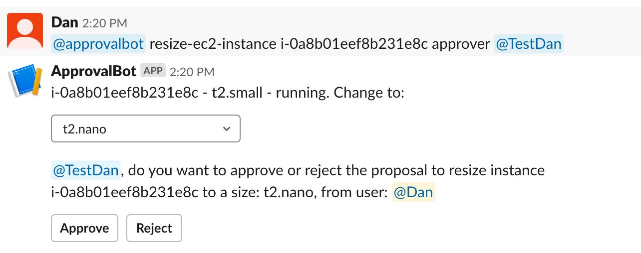 Slack screenshot showing approval buttons