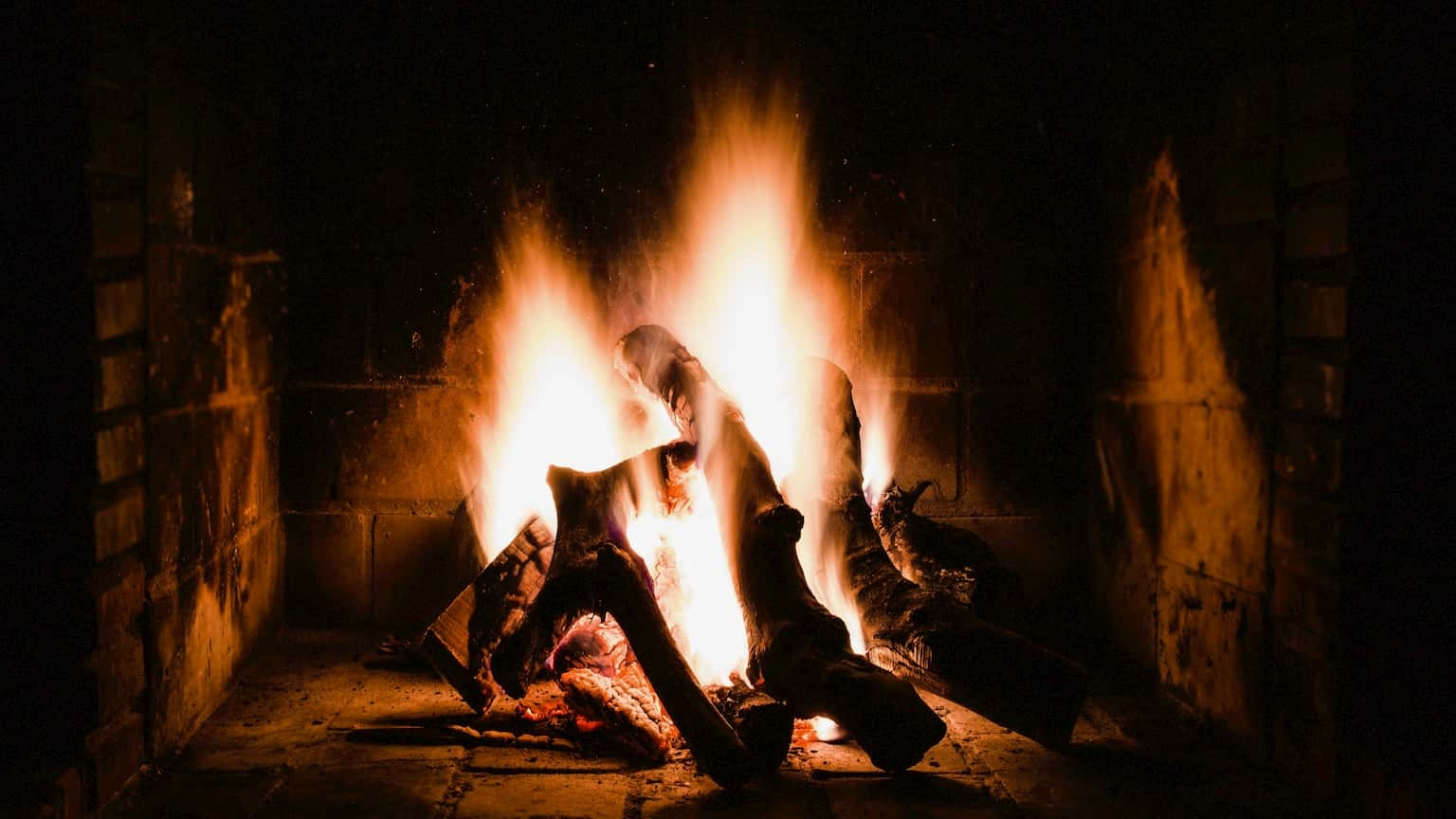 Picture of fire burning in a fireplace