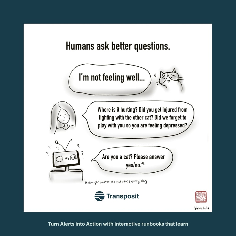 "Humans ask better questions. Cat: ""I'm not feeling well..."" Human: ""Where is it hurting? Did you get injured from fighting with the other cat? Did we forget to play with you so you are feeling depressed?"" Robot: ""Are you a cat? Please answer yes/no."""
