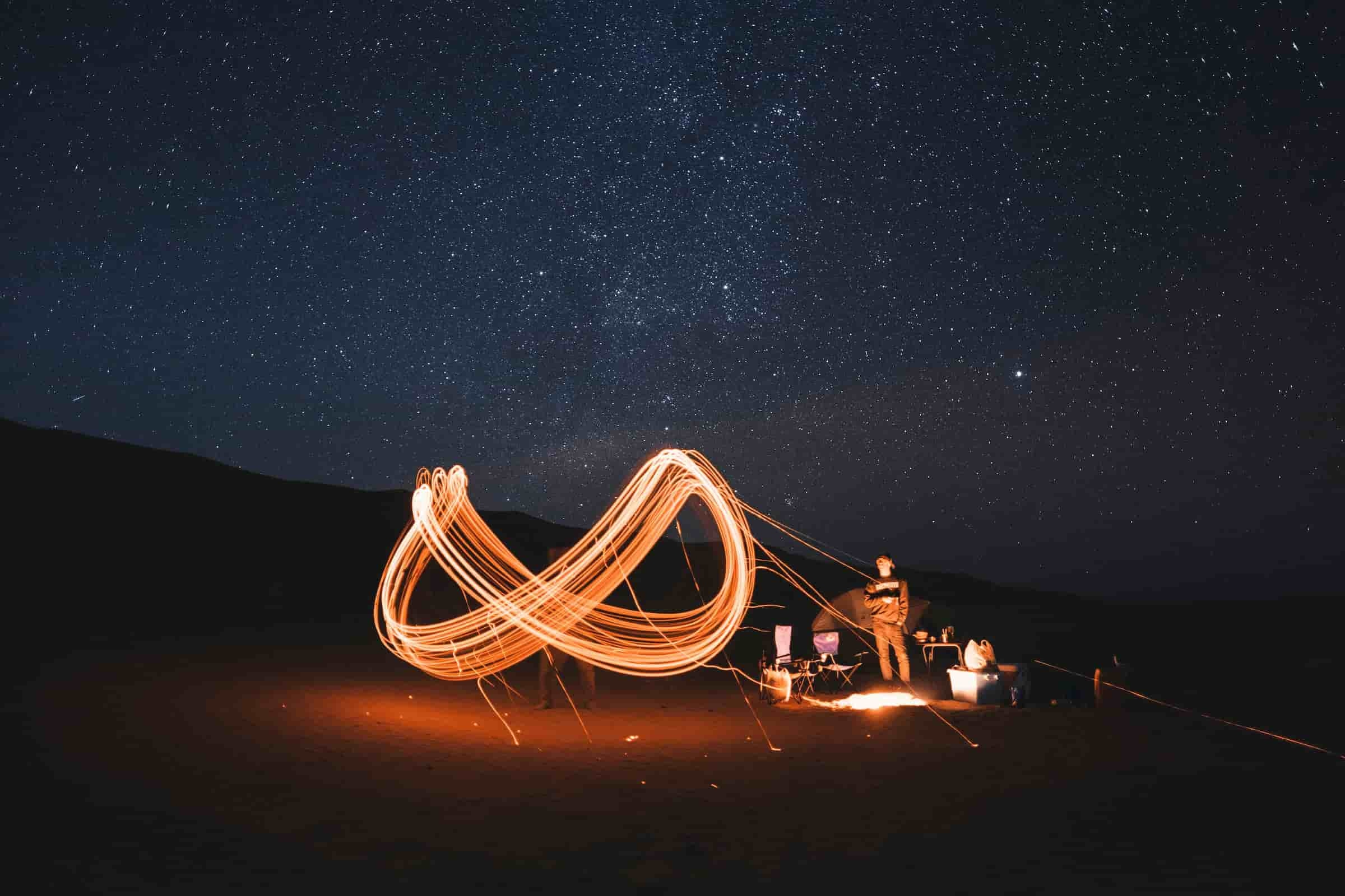 Light loop under the stars, photo by freddie marriage from Unsplash