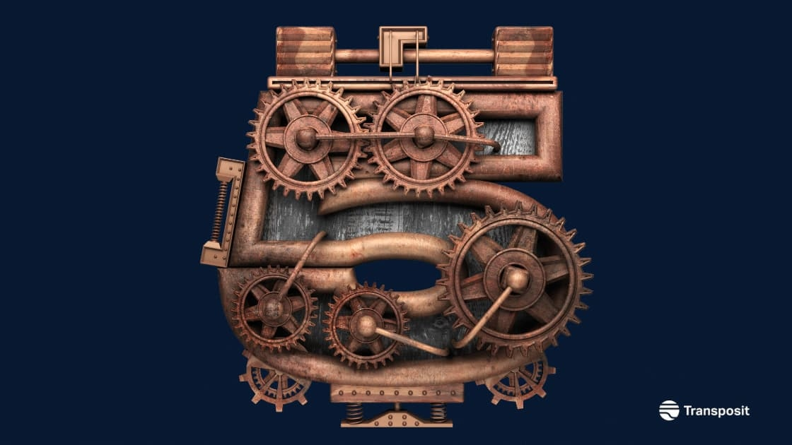 Image of number five with gears on it