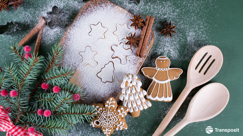 Baking tools, Holly, and Gingerbread cookies dusted in flour