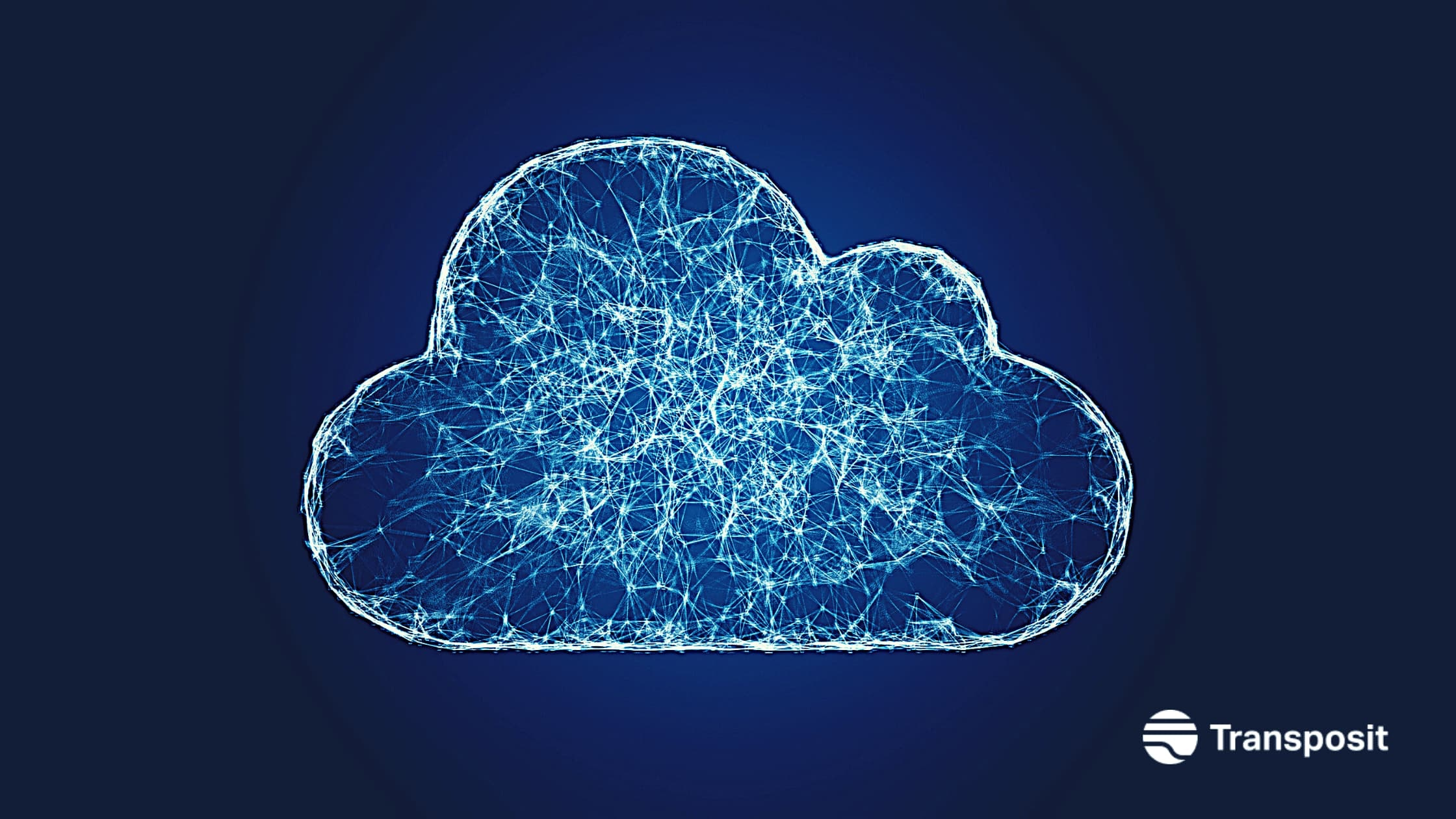 A picture of a cloud with a web of connections inside of it
