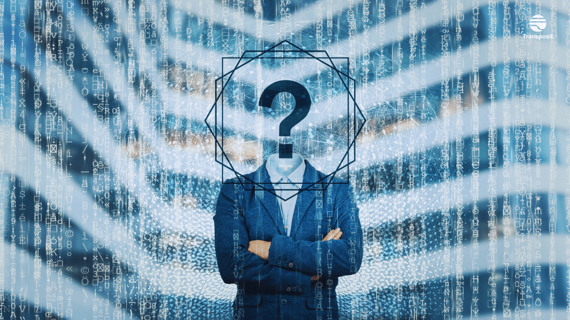 Man with question mark for a face in front of a building overlayed with symbols and a fingerprint pattern