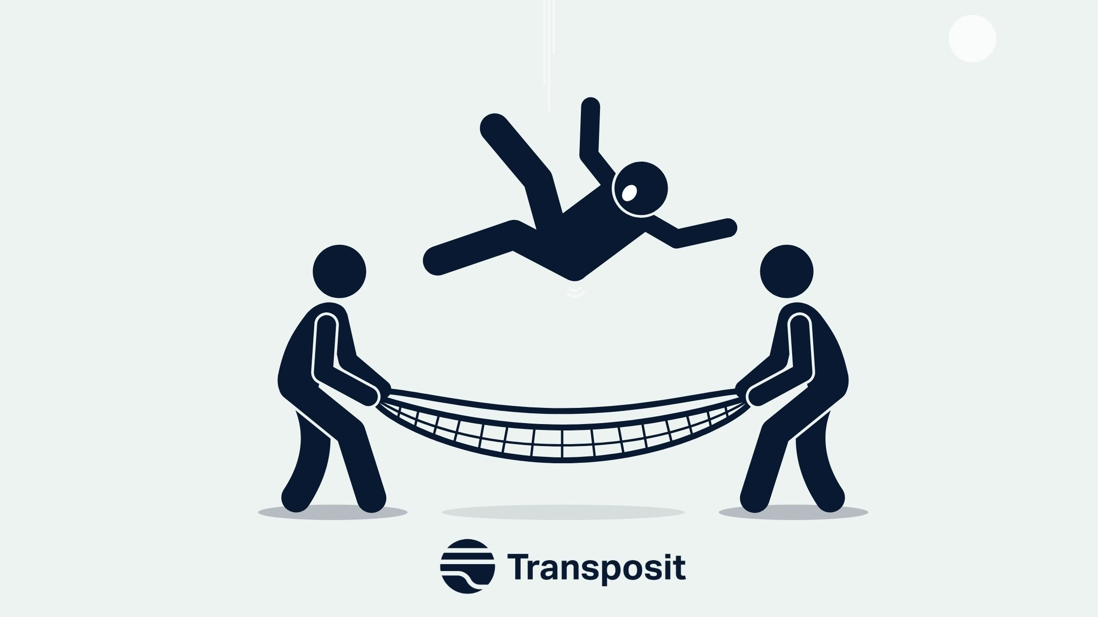 People holding a net catch a person who is falling and Transposit logo under the net