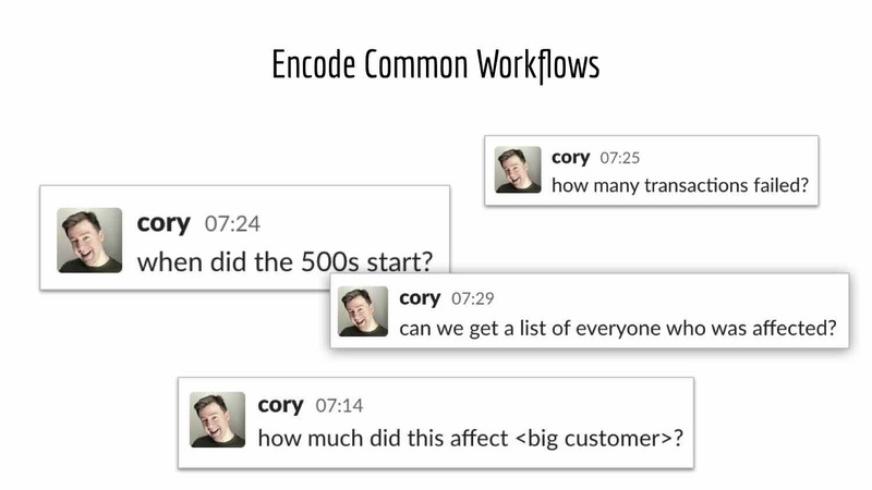 "Slide from Cory Watson's talk with the title, ""Encode Common Workflows."""