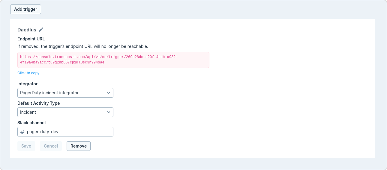 PagerDuty endpoint URL in Transposit