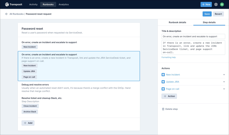 Transposit no-code runbook builder